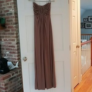 Long Taupe Strapless Dress